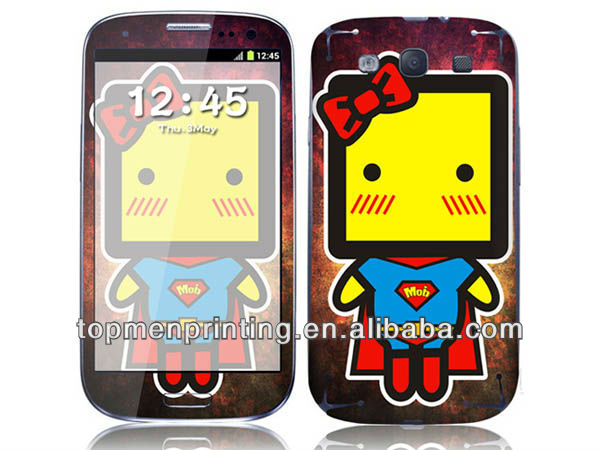 Super kitty customize cartoon smile face stickers mobile phone skin for samsung