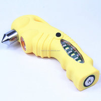 Rechargeable Multi-Functional Car Emergency Hammer Seatbelt Cutter LED Flashlight SOS Warning Light, Portable Charger