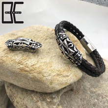 BE Accessories Silver Clasp Magnetic Stainless Steel Braided Wrap Cuff Leather Bracelet