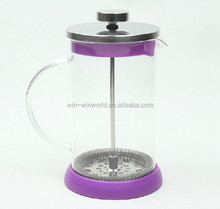 High Quality Pyrex Clear Glass French Press Stainless Steel Tea Pot