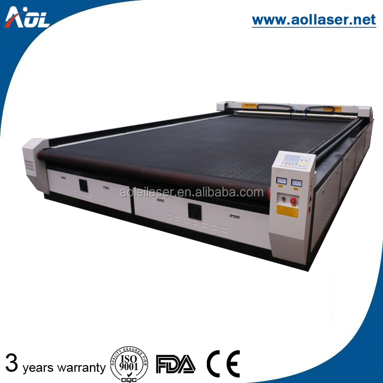 Laser cutting machine for rubber coated fabric Roll feed