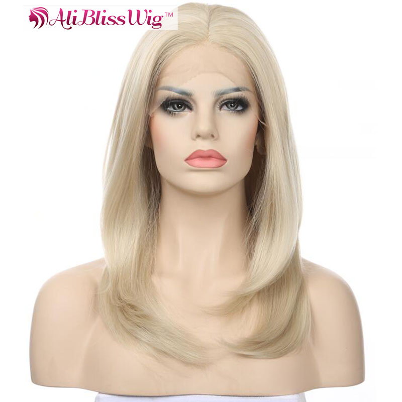 18 Inch Heat Resistant Fiber Hair Straight Shoulder Length Short Bob Synthetic Middle Part Lace Front Wig Blonde for White Women
