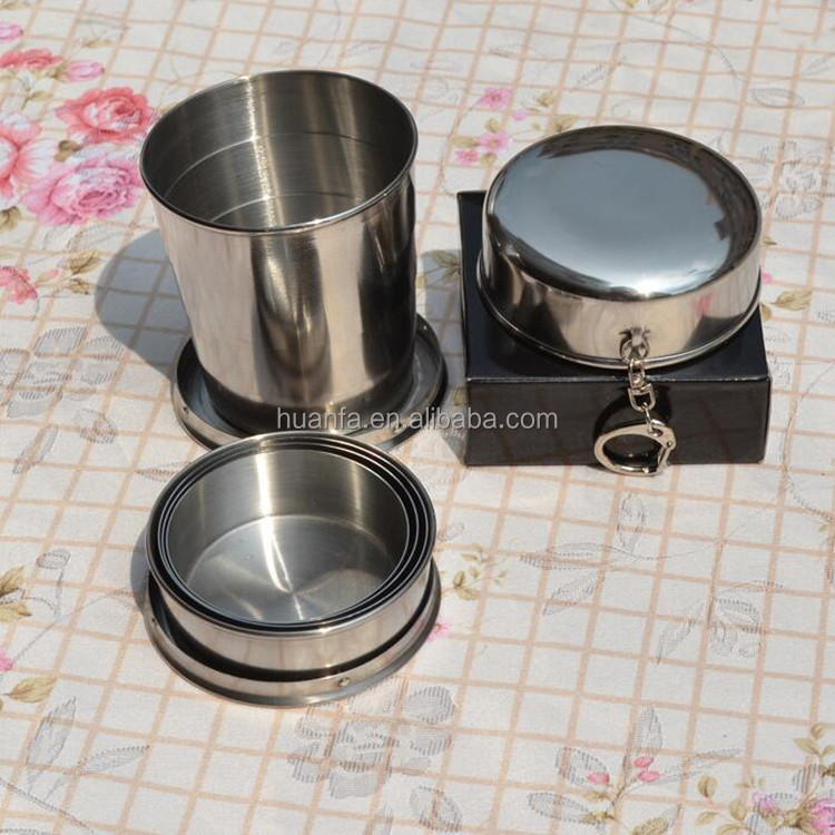 Wholesale Portable Stainless Steel Telescopic Retractable Travel Folding Collapsible Cup Outdoors cup