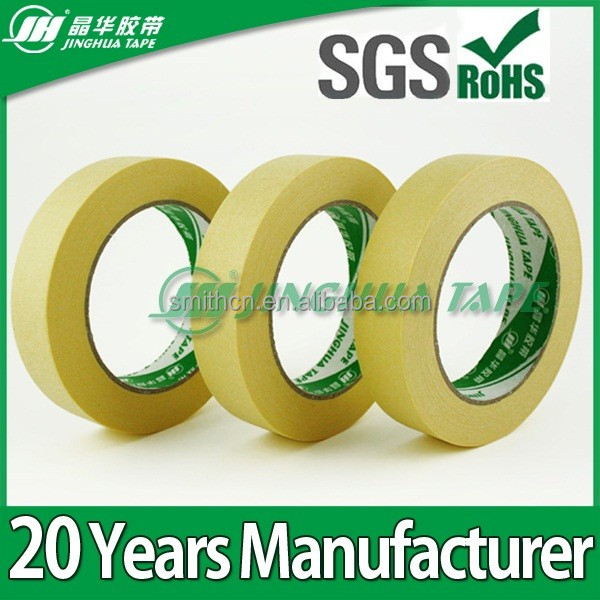 Jinghua high quality high temperature yellow adhesive paper masking tape