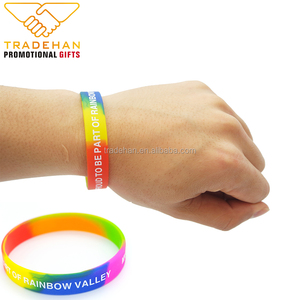 Promotional gift custom rainbowl colors silicone rubber wristband silicone bracelet