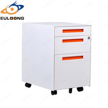 Disassembled Side Pedestal Tambour Door 3 File Drawer Combination Mobile Pedestal Cabinet
