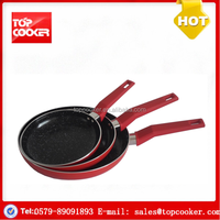 Aluminium press stone coated cooking lava stone fry pan
