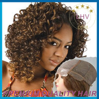 Wholesale Stock!! Afro kinky curly Indian human hair full lace braided wig for black woman