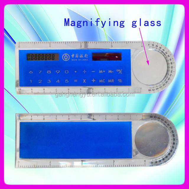 Student math tool magnifying glass with ruler calculator,plastic solar ruler calculator