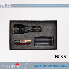 Outdoor led lantern TrutFire Z3 zoomable flash light,Led mini led lights for crafts,Recahargeble Led torch