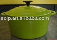 green enamel cast iron casserole with plastic knob KA25