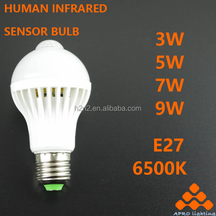Free sample 2017 High Quality E27 human body induction bulb 5W ra&gt90 led for sale with certificate