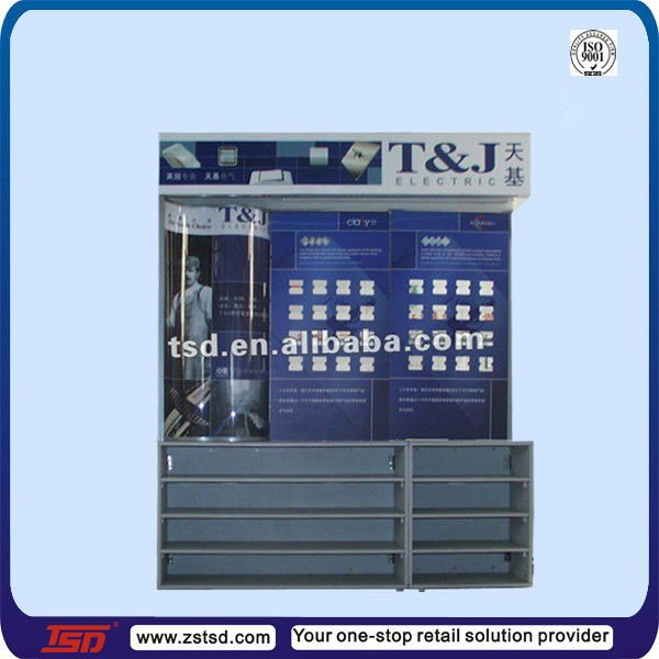 TSD-W1170 Custom trade show electrical wiring accessories display cabinet,lamp display stand,Electrical products display rack