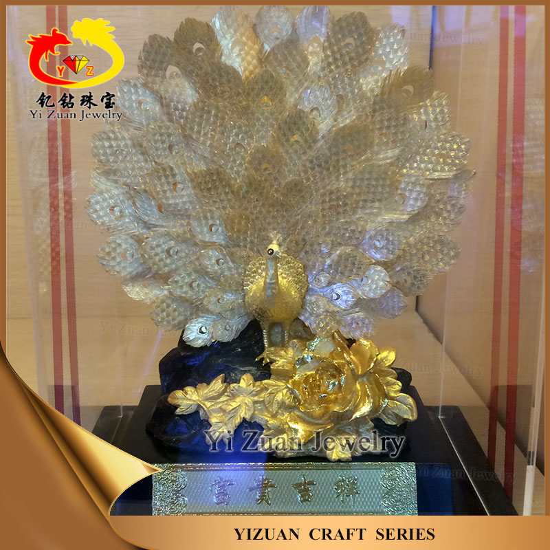 Wholesale 24k gold foil Pure gold 99.9% Peacock arts craft models