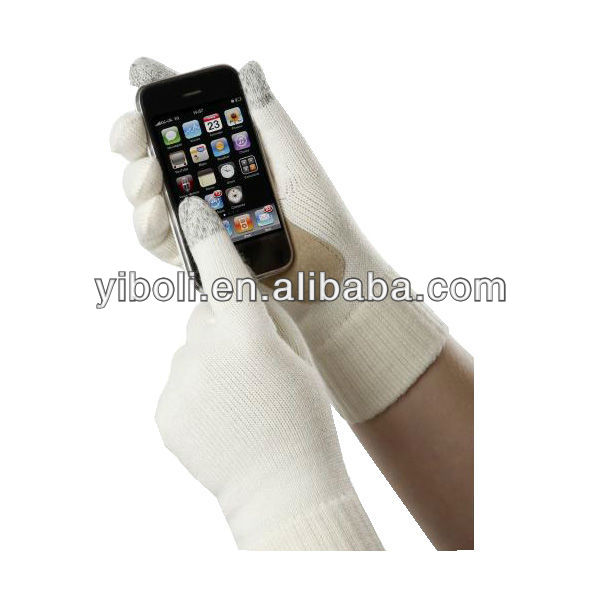 Zhejiang Custom brand White cow leather two fingers touch screen gloves happy hand winter warm sexy lady gloves