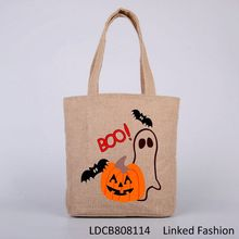 Fast shipping nature color 100% cotton wholesale halloween bags with drawstring