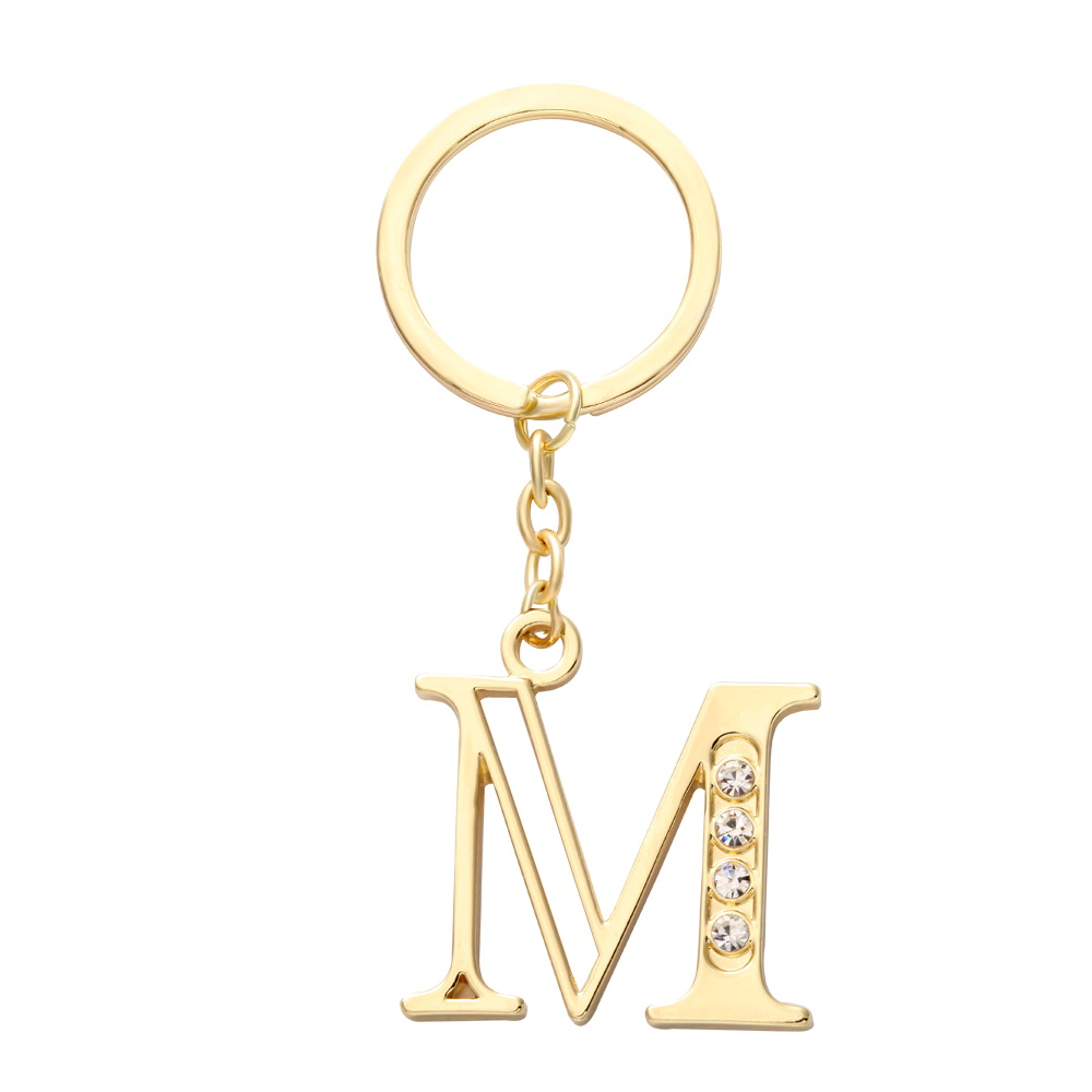 Custom Crystal Gold Initial Charm Letter M Keychain