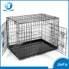 double door folding pet dog cage crate kennel with abs tray black dog crate