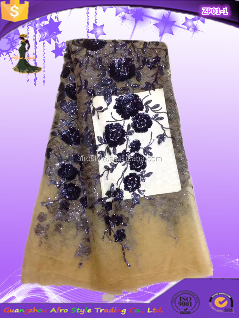 2017 most popular sequin lace fabric