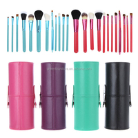 12 Pcs Professional Cosmetic Makeup Brushes Set Beauty Brushes Leather Cup Holder Case