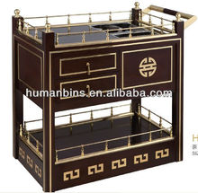wooden tea service trolley