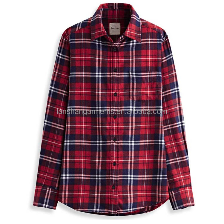 new design ladies flannel blouse