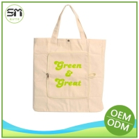 Quality assured fashion design natural recycled cotton canvas tote bag
