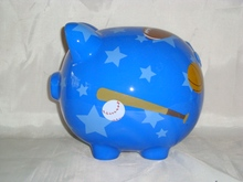 ceramic piggy coin bank with baseball design JM0908B