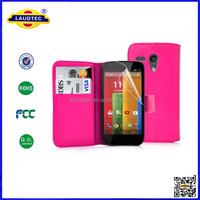 2014 New Arrival PU Leather Wallet Flip Case Cover for MOTOROLA MOTO G
