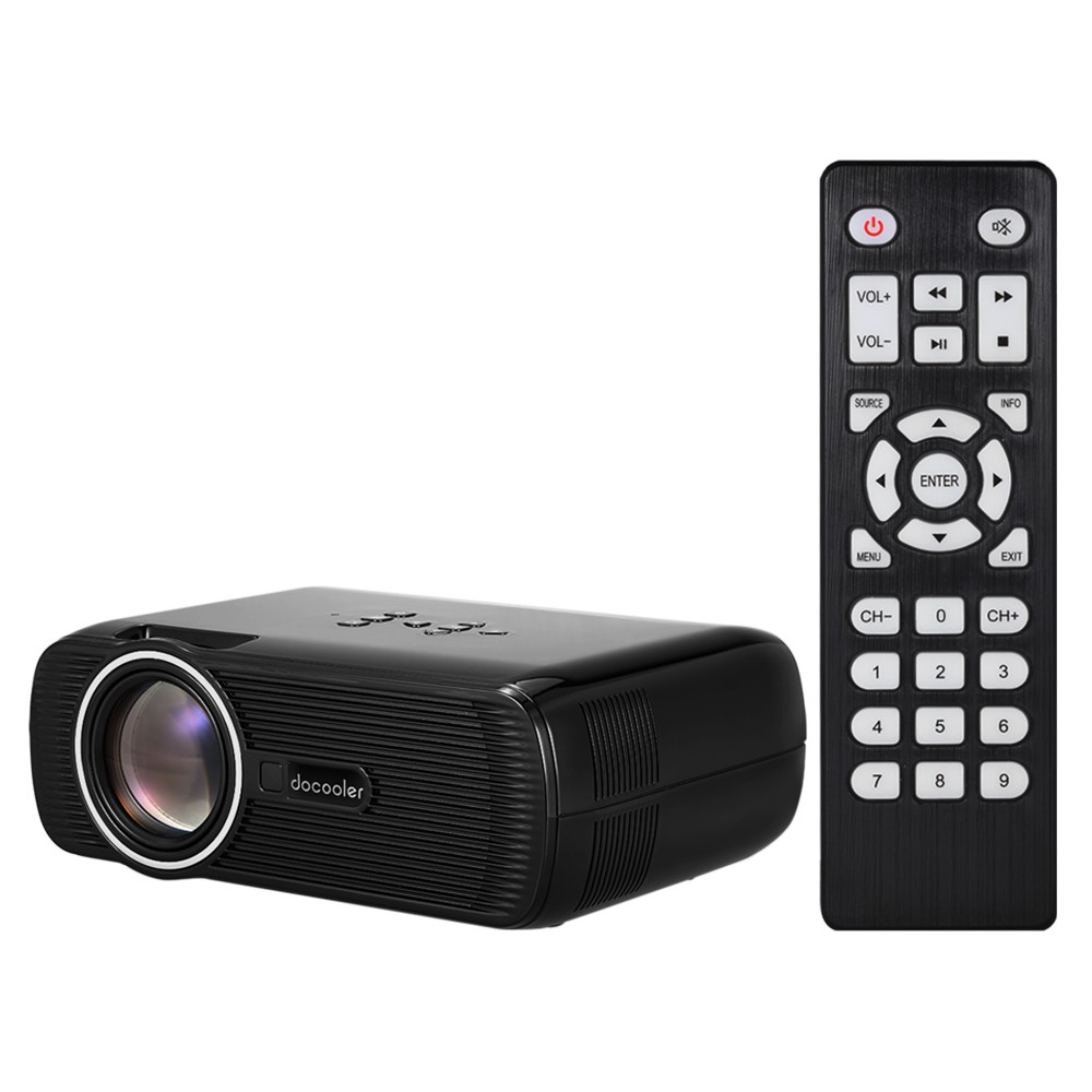 "Docooler BL-80 LED LCD Projector 1080P 130"" Home Theater Video Projector 1200 Lumens 800 * 480 Pixel 1000:1 Contrast Ratio V3075"