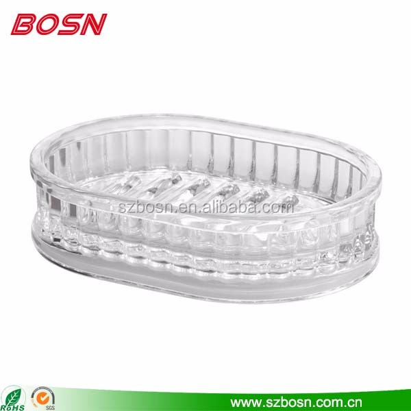 top quality transparent acrylic ribbed bathtub shaped soap dish holder