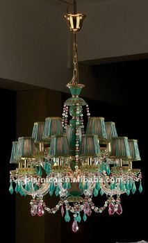 Antique green lampshade&porcelain crystal chandelier,residential lighting,pendent lamp,copper gold plated(B50390)