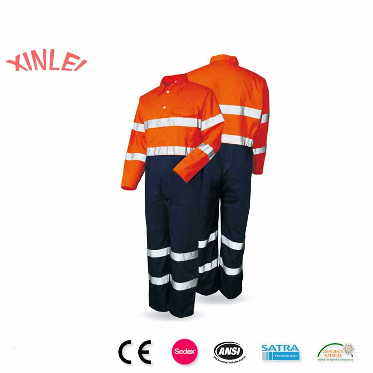OEM hi vis reflective work overall/ workwear overalls polyester