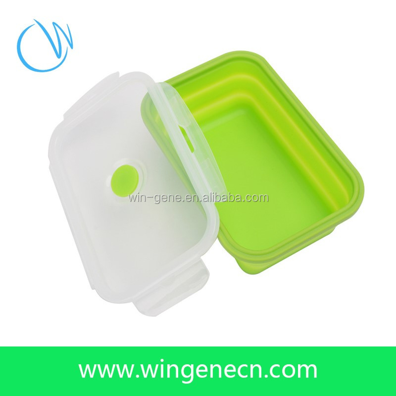 Travel Silicone Folding Food Container/Easy Carry Silicone Rubber Lunch Box