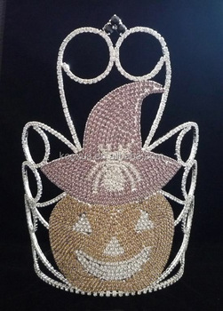 Colored Crystal Halloween Pumpkins Crown, Large Halloween Pageant Crown
