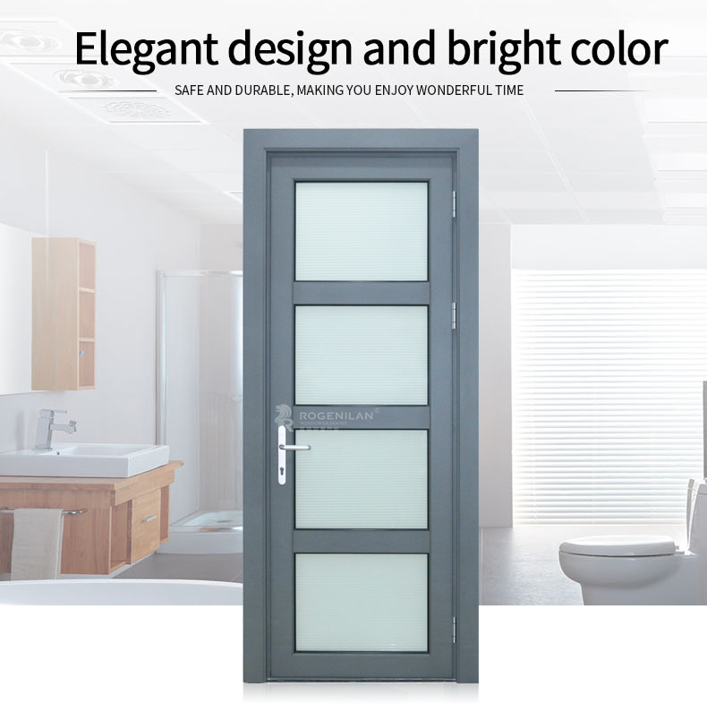 ROGENILAN 568 series aluminum frame french double glass weather stripping exterior door