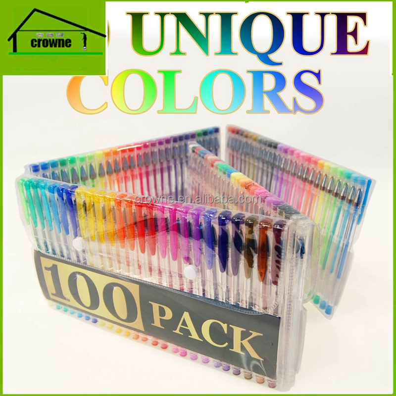Factory cheap pvc packinig 100 unique colors glitter gel pen sets for coloring with high quality