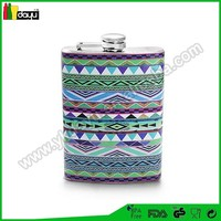 6oz stainless steel hip flask with silk printing - Aztec Mayan Native American Design