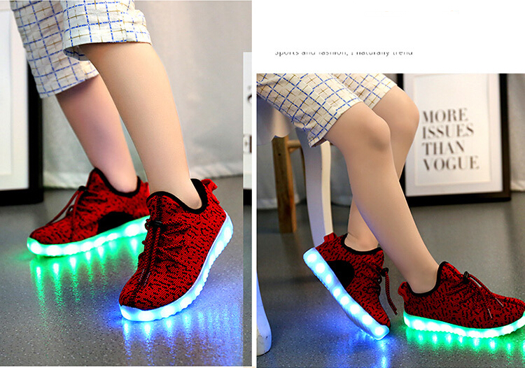 Children Boys And Girls Flashing LED Shoes Sneakers Kids,Led Light Net Shoes