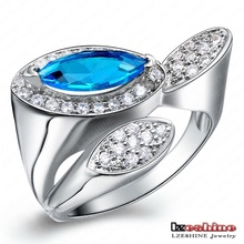 Roma Design Luxury Ring Real Platinum Plated Engagement Rings For Women With Blue Color Diamond WX-RI0107