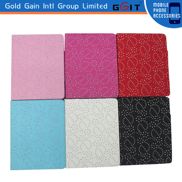 For iPad 3 Diamond Design Leather Case Bling Diamond Case For iPad 3 With Stand