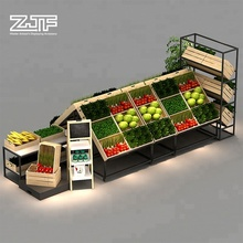 Double sides grocery vegetable fruit display rack wooden supermarket <strong>shelves</strong> design
