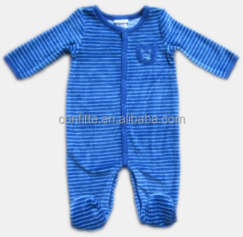 Printted stripes coral fleece baby romper baby bodysuit with footie