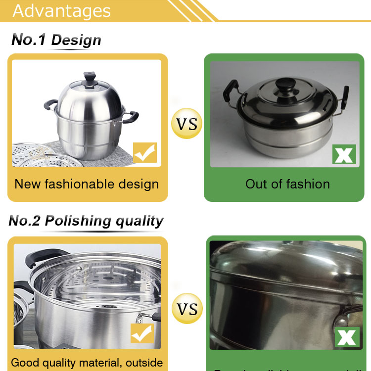 Made in china fashion stainless steel with single handle Right angle soup set