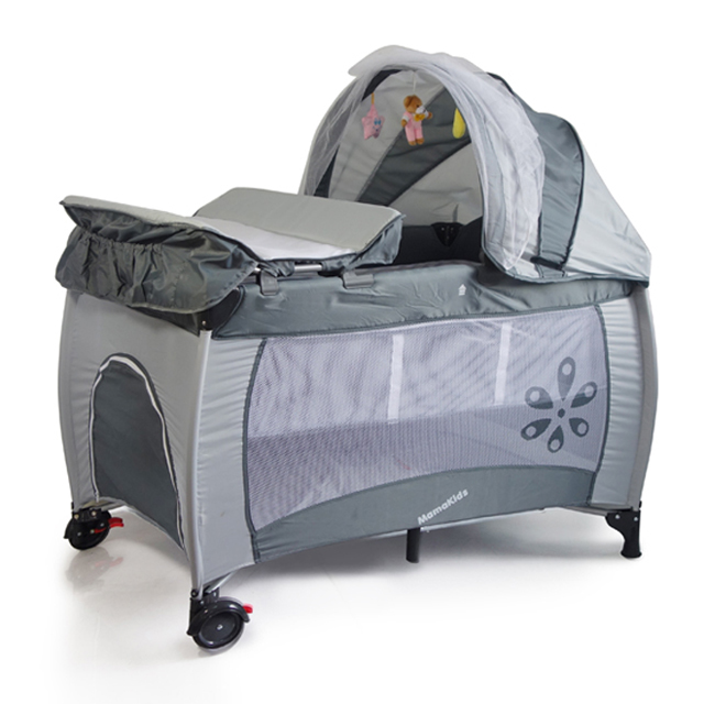 baby folding playpen bed with 2 wheels