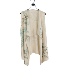 Women shawl neck sleeveless printted full cardigan vest