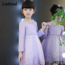 Girls Long Sleeve Flower Pattern Fleece Lined Net Lace Wedding Dress