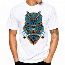 Summer Casual White Animal T-shirt Printing Owl for Men OEM China Supplier