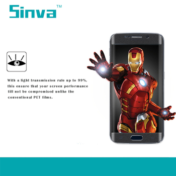 Sinva factory Full size 3D Curved edge full cover tempered glass screen protector Samsung S6 edge plus with best price