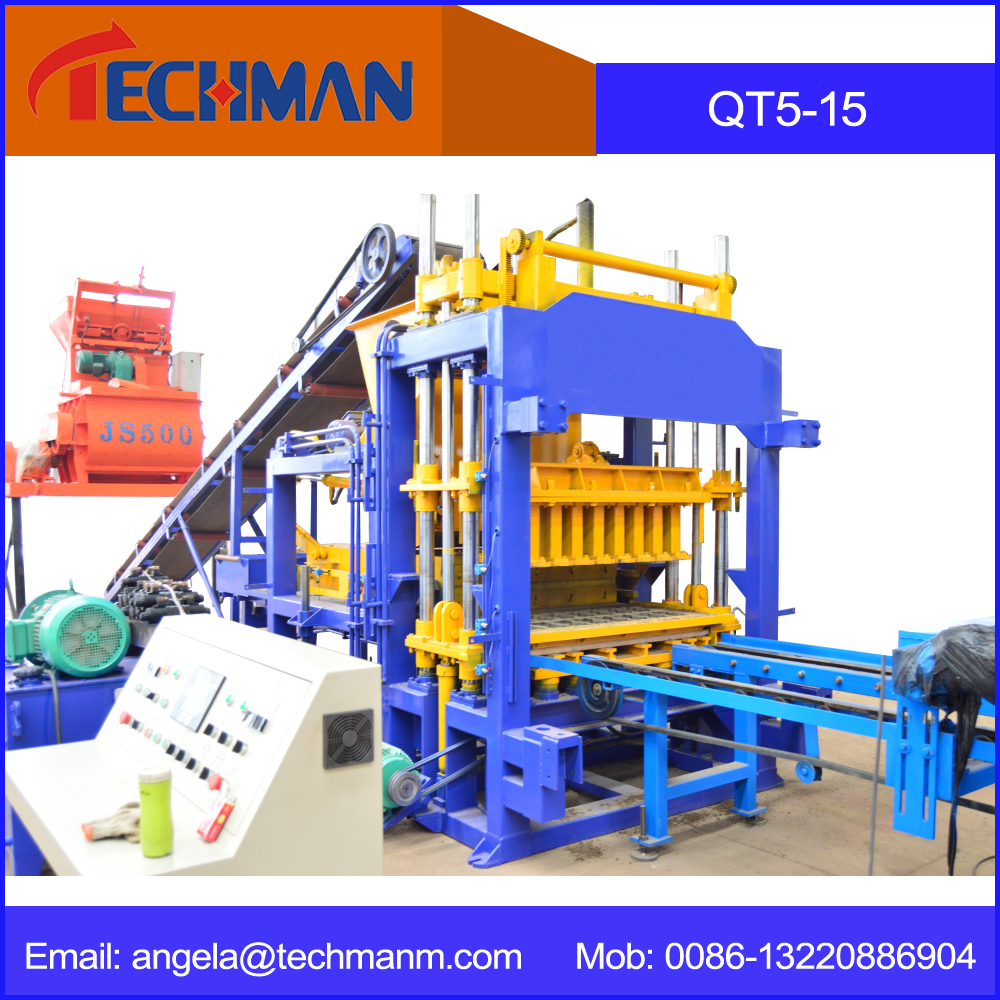 Top quality automatic block making machinei QT5-15 fully automatic hydraulic cement hollow blocks brick machine